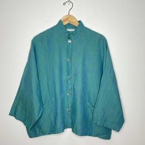 Bryn WALKER Blue & Green Marled Linen Button Down